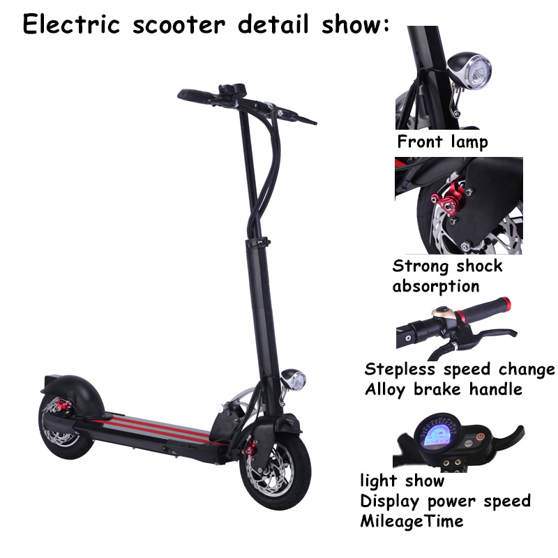 Adult Kick Electric Scooter With Brushless Motor And